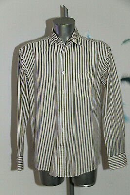 Pretty White Shirt Striped Brown eden park Club House Size L like New