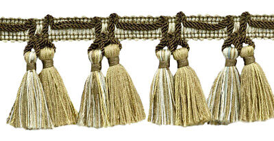 "Light Brown, Ivory, Sandstone Beige 2.5"" Tassel Fringe Trim Cappuccino [5 Yards]"
