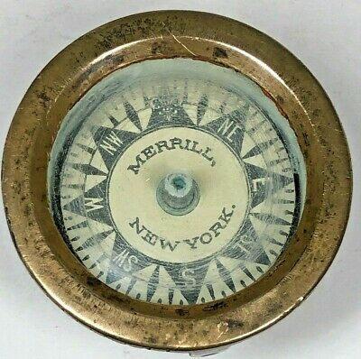 Antique 1880 Nautical Dry Card Ships Compass R. Merrill Sons, New York Brass