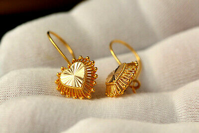 Lovely Solid Gold Earrings, Anatolian Filigree Handcrafted Heart Shap Earrings