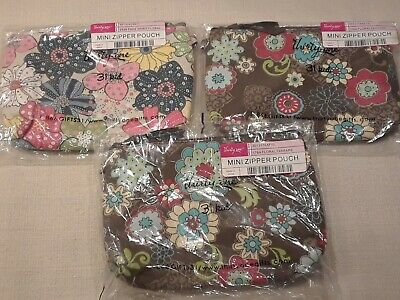 Thirty One 31 Gifts Zipper Pouch - NEW lot 3 Floral Fanfare Free Spirit RETIRED