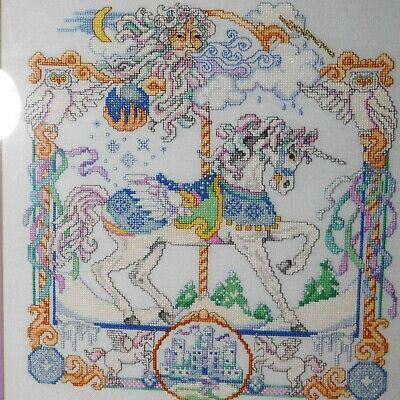 Complete Framed Cross Stitch Carousel Unicorn Fantasy Castle Owl 1983