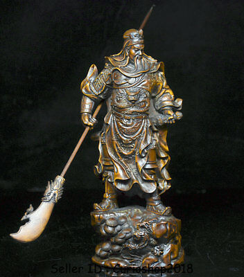 """8"""" Old China Boxwood Wood Hand Carved Guan Gong Yu Warrior God broadsword Statue"""