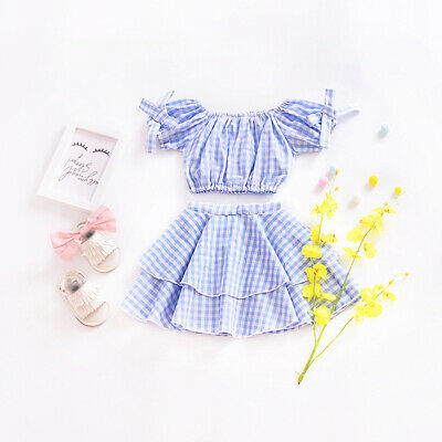 Child Kid Girl Casual Fashion Summer Short Sleeve Tops+Skirt Outfit 2pcs/Set
