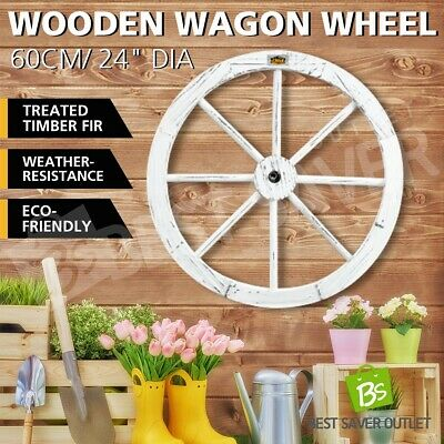 """OGL Wooden Wagon Wheel White Garden Outdoor Rustic Decoration Feature 24"""" Timber"""