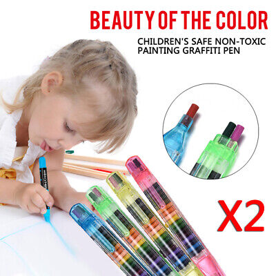 20 Colors Paint Drawing Crayon Pen For Kids DIY Art Supplies Painting Crayon 2PC