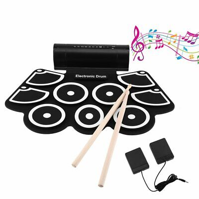9 Pads Electronic Digital Drum USB Pads Roll up Drum Set Silicone Electric Drum