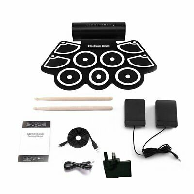 9 Silicone Pads Digital Electronic Drum Kit USB Roll-up Drum Sticks Foot Pedals