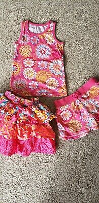 CHILDRENS PLACE 3 PIECE GIRLS OUTFIT shirts skirt (skort) top SIZE 6x-7 and 7-8