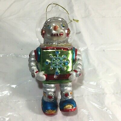 Retro Atomic Era Style Space Walker Astronaut Glass Christmas Ornament