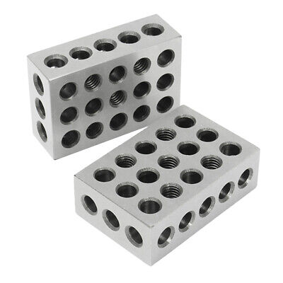 """Pairs of Ultra Precision 1-2-3 Blocks 0.0002"""" 23 Holes Milling Machinist Steel"""