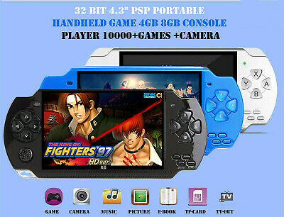 """32 Bit 4.3"""" PSP Portable Handheld Game 8GB Console Player 10000+Games +Camera X6"""