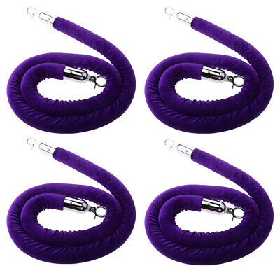 4x Purple Queue Rope Barrier Velvet Rope Crowd Control with Silver Ends 1.5m