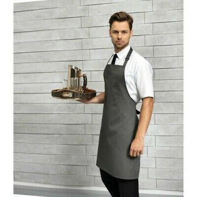 Premier Polyester Bib Apron Catering Chef Self Fabric Neck Long Tie Aprons New