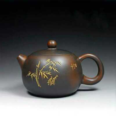 Chinese old fine handmade ceramics yixing zisha bamboo xishi teapot marked
