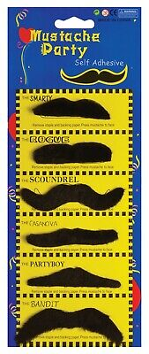 Pack of 6 Stick on 70's Fake Mustache Self Adhesive Fancy Dress Assorted Design