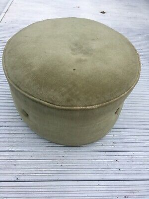 Vintage Green Round Circle Foot Stool Pouf Pouffe Puff Retro