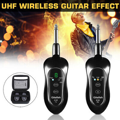 Portable UHF Electric Guitar Wireless System Transmitter Receiver 10 Channels