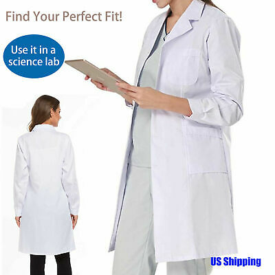 Hospital Doctor Nurse Uniform White Lab Coat Laboratory Unisex Long Jacket S-2XL
