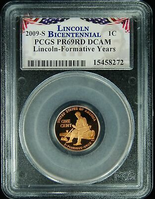 PCGS Certified PR69RD DCAM 2009 S Professional Lincoln Bicentennial Cent