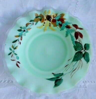 ANTIQUE  Hand blown Cased Glass Frosted Enameled BRIDES BASKET Bowl Insert