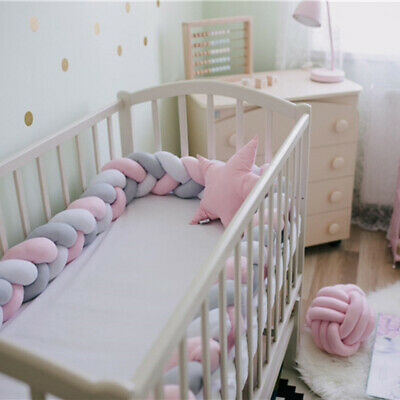 2-6 Meters Infant Plush Crib Bumper Bed Bedding Cot Braid Pillows Pad Protector
