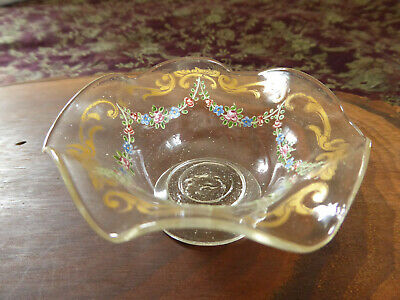 VTG Antique Bohemian Enameled Glass Open Salt Cellar Dish Bowl Hand Blown