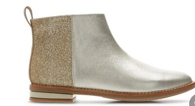 Clarks Baby Girls Drew Fun Kid Gold Glitter Leather boots UK Infant Size 5.5 G