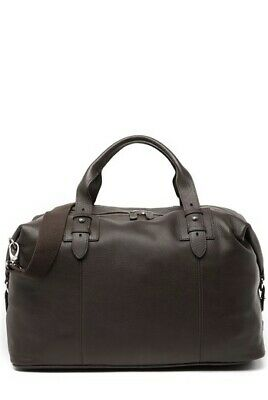 NWT Cole Haan Premium JAVA BROWN Leather Brass Duffle Weekend Travel Bag $498