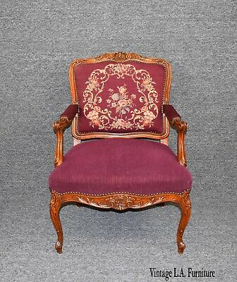 19th Century Antique French Louis XVI Carved Fruitwood Burgundy Tapestry Chair