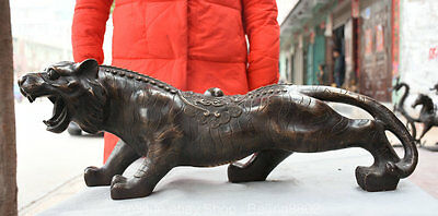 """26"""" Collect Chinese Fengshui Bronze Wealth Zodiac Ferocity Tiger Animal Statue G"""