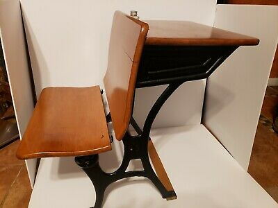 Antique Child's School Desk  Wood & Black Cast Iron with ink well bottle