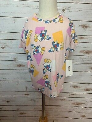 BNWT Lularoe Kids Disney Gracie Shirt 6 Donald Duck Pink Shapes HTF