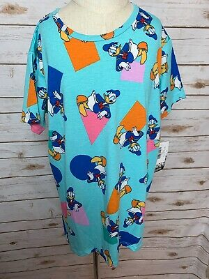 BNWT Lularoe Kids Disney Gracie Shirt 10 Donald Duck Shapes Baby Blue HTF