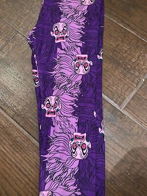 BNWT LuLaRoe Disney Tween Leggings Villains Cruella 101 Dalmatians Purple Pink