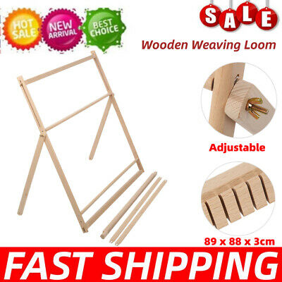Traditional Wooden Weaving Loom Machine Pretend Play Toy Kids Knitting Craft