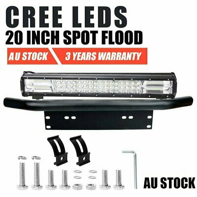 20inch CREE LED Light Bar SPOT FLOOD Driving Offroad + 23inch Number Plate Frame