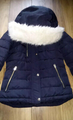 Ladies /Girls Size 6 Topshop Navy Quilted Jacket Coat Parka Puffa Puffer Faux...