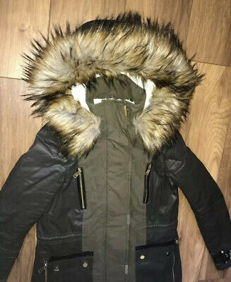 Ladies/Girls Size 6 River Island Khaki Coat Parka Faux Fur Hood Fleece Lined