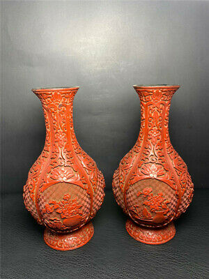 "9.45"" Chinese Exquisite lacquerware carved flower Handmade vase A pair"