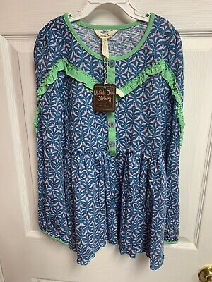 Matilda Jane Shirt Top NWT Youth Girl's Size 14 Blue Green L/S Buttons June 2018