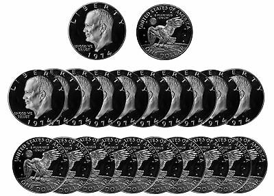 1974 -S Eisenhower Dollar 40% Silver roll 20 US Coins  DCam Proof