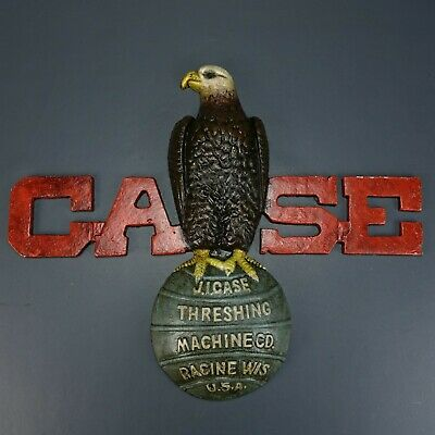 CASE Eagle On Ball Hand Painted Cast Iron Sign Repro