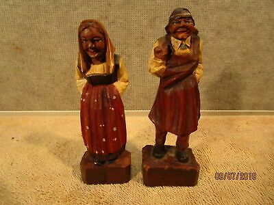 Vintage Hand Carved Wooden Man & Woman Statues