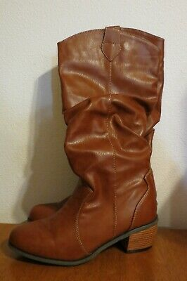 MukLuks Brown Cowgirl Western Style Slouch Boots, size women's 8 ~ NICE!