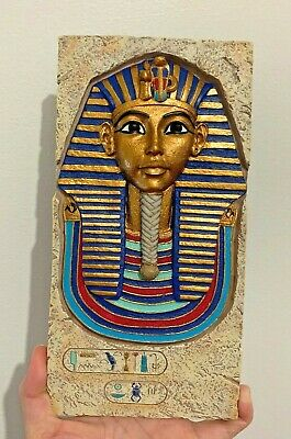 Stone King Tut Mask- 3D Raised Plaque Egyptian Collection hand painted wall art
