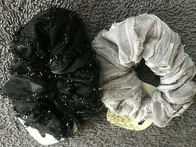 BLACK AND SILVER SEQUINS SCRUNCHIE ELASTIC HAIR BAND BOBBLE LADIES GIRLS NEW