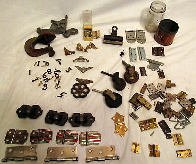 Antique Mixed Lot Of Metal Rollers Fancy Steam Truck Corners Hinges