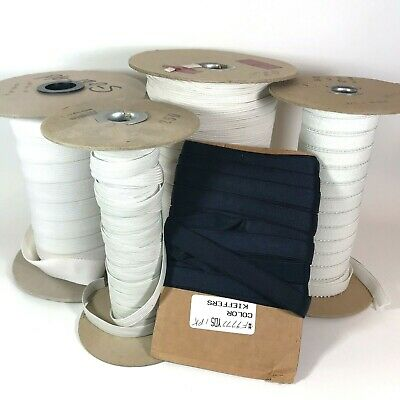 """Lot 4 Partial Spools Elastic Band for Sewing White 1/4"""" 1/2"""" 1"""" Black 1/2"""" Width"""