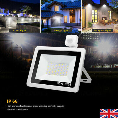 LED Floodlight PIR Sensor Motion 10/30/50/100W Security Flood Light White Colour